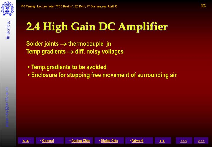 2.4 High Gain DC Amplifier