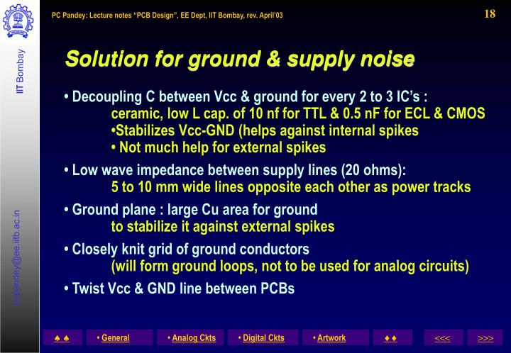Solution for ground & supply noise
