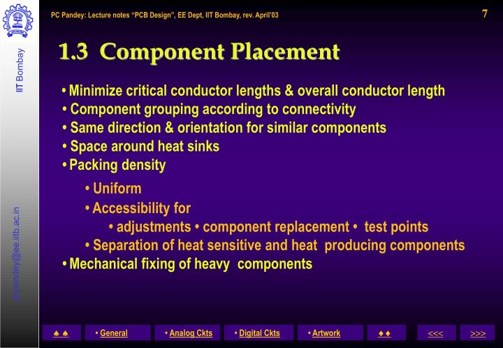 1.3  Component Placement