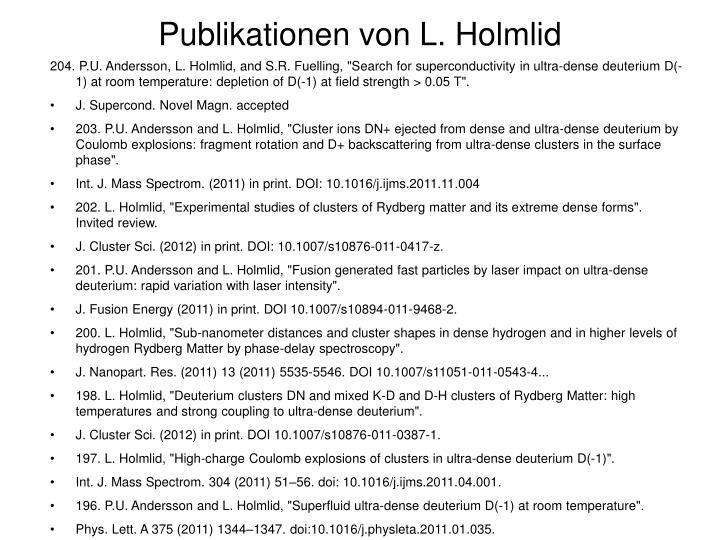 Publikationen von L. Holmlid
