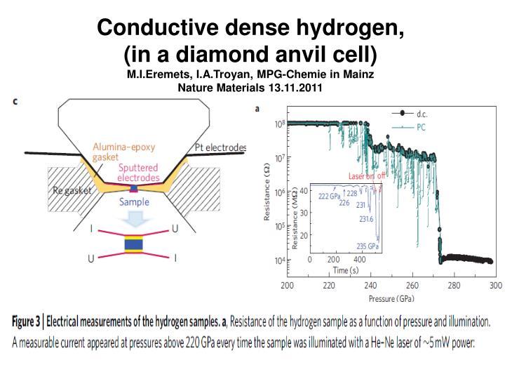 Conductive dense hydrogen,