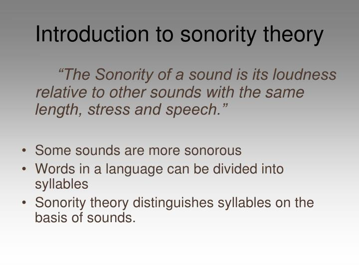 Introduction to sonority theory