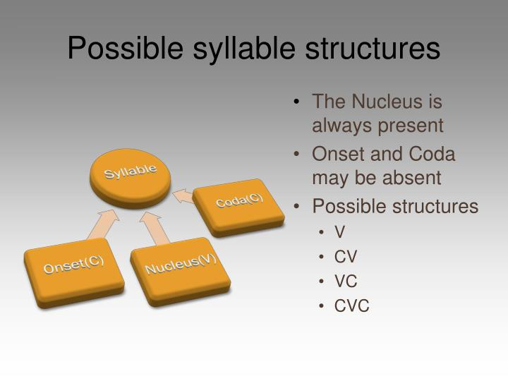 Possible syllable structures