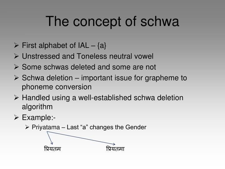 The concept of schwa