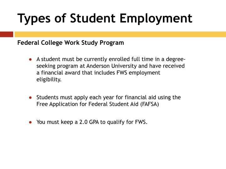 Types of Student Employment