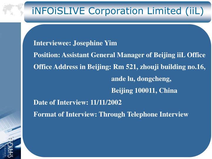 iNFOiSLIVE Corporation Limited (iiL)