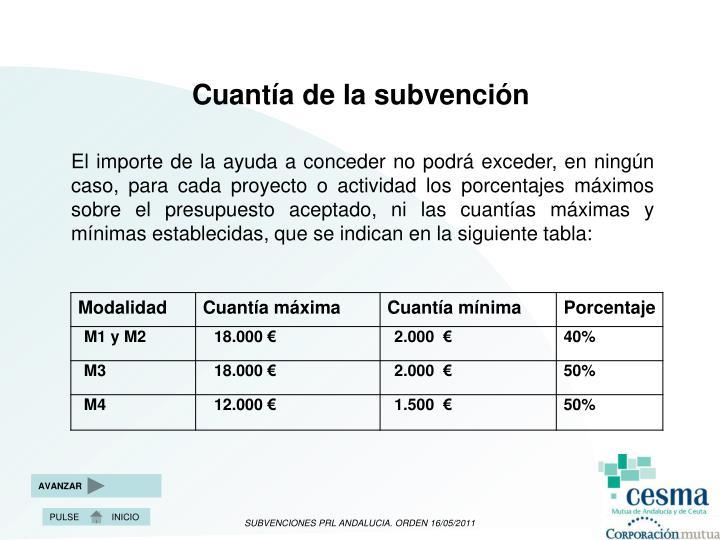 Cuantía de la subvención