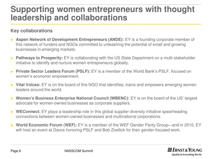 Supporting women entrepreneurs with thought leadership and collaborations