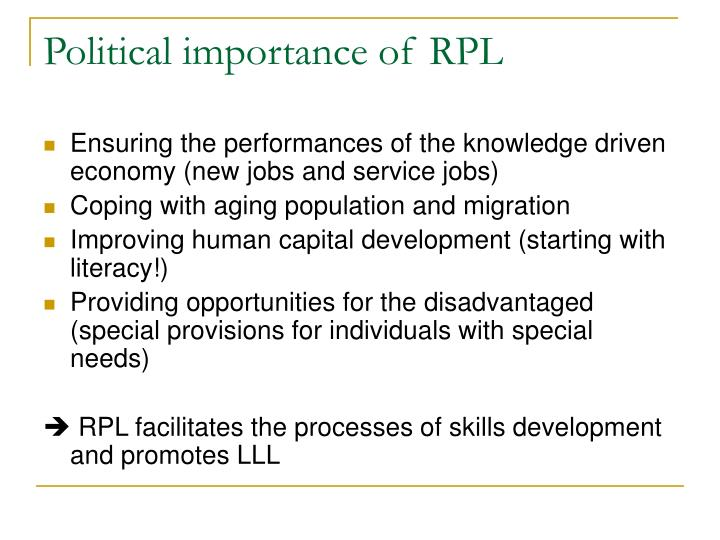 Political importance of rpl