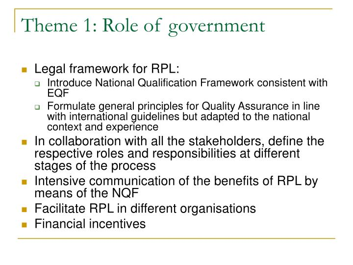 Theme 1: Role of government