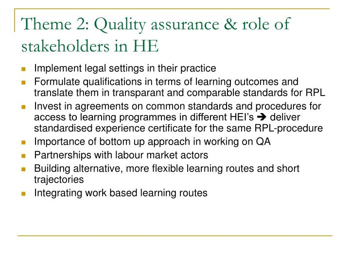 Theme 2: Quality assurance & role of stakeholders in HE