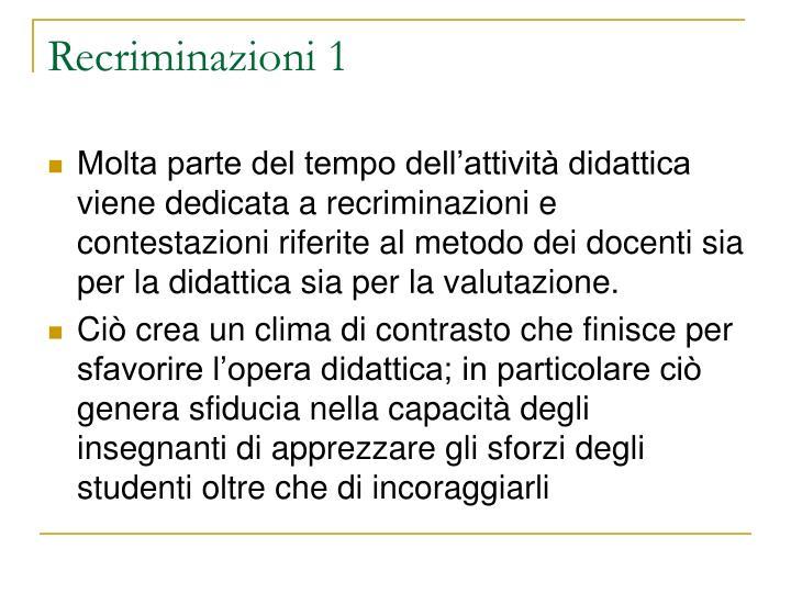 Recriminazioni 1