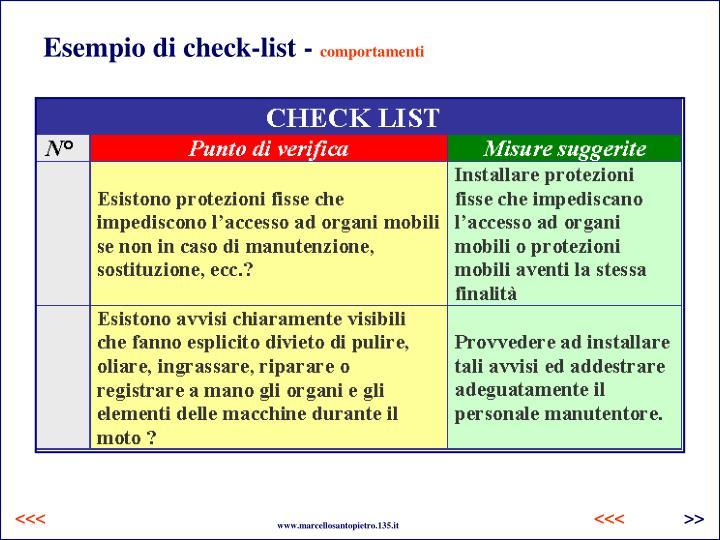 Esempio di check-list -