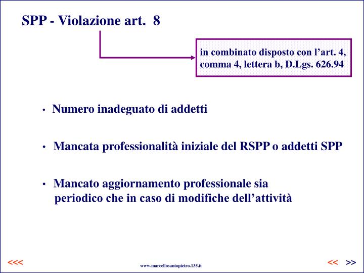 SPP - Violazione art.  8