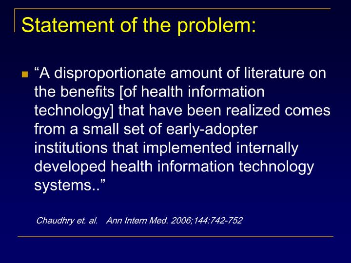 Statement of the problem: