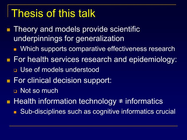 Thesis of this talk