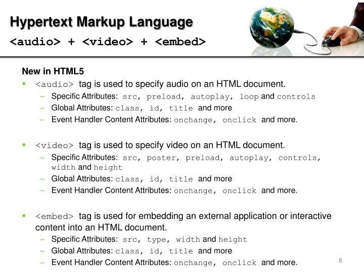 <audio> + <video> + <embed>