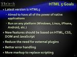 html 5 goals
