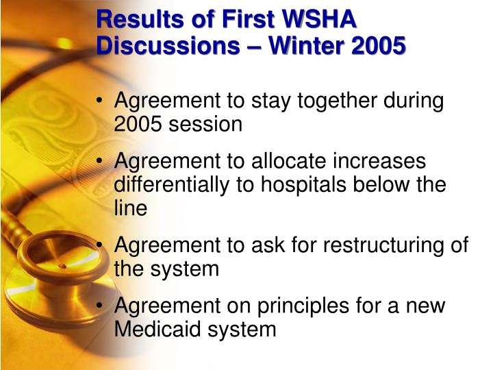 Results of First WSHA Discussions – Winter 2005