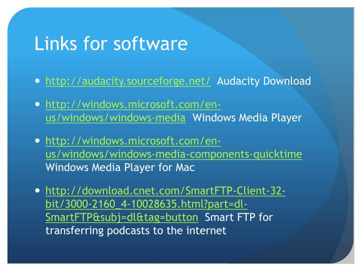 Links for software