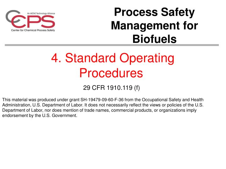 4 standard operating procedures