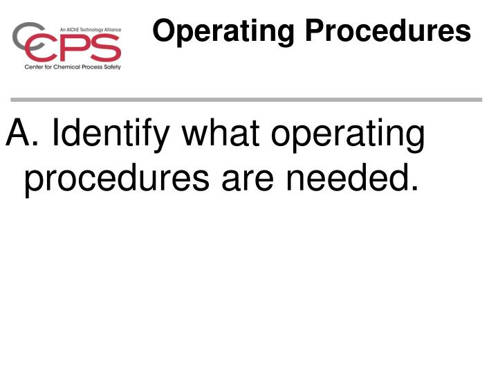Operating Procedures