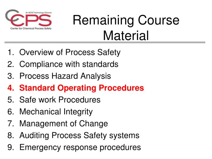 Remaining course material