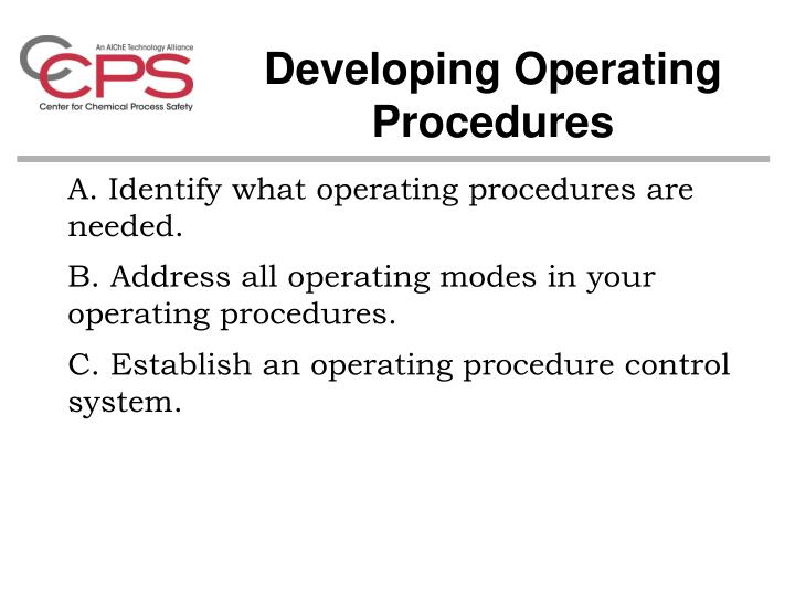 Developing Operating Procedures