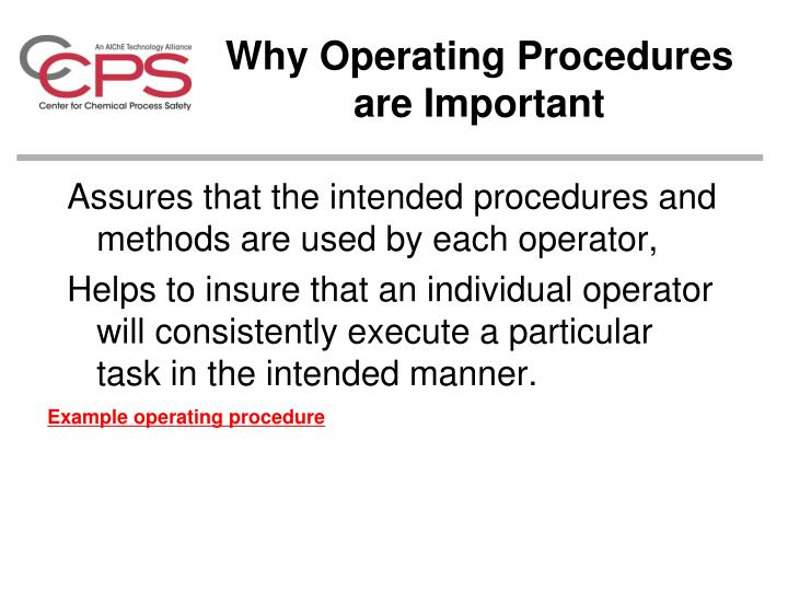 Why Operating Procedures are Important