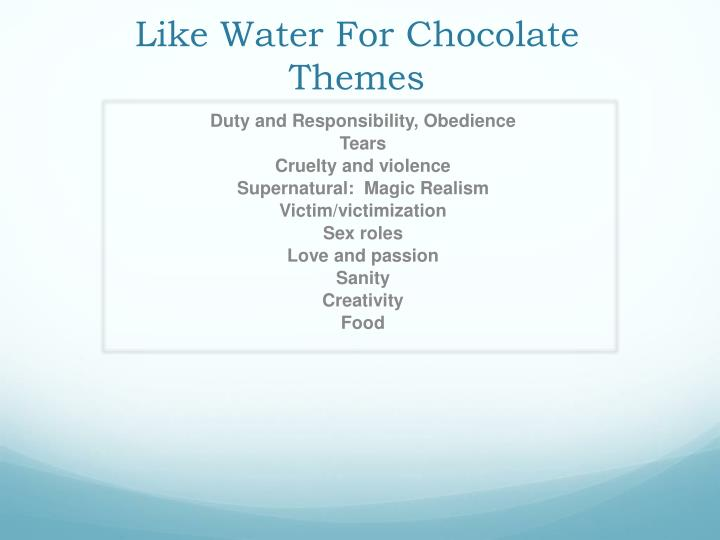 the theme of tradition in de la garza family in like water for chocolate by laura esquivel An essay or paper on families and traditions in like water for since the de la garza family lives on families and traditions in like water for chocolate.