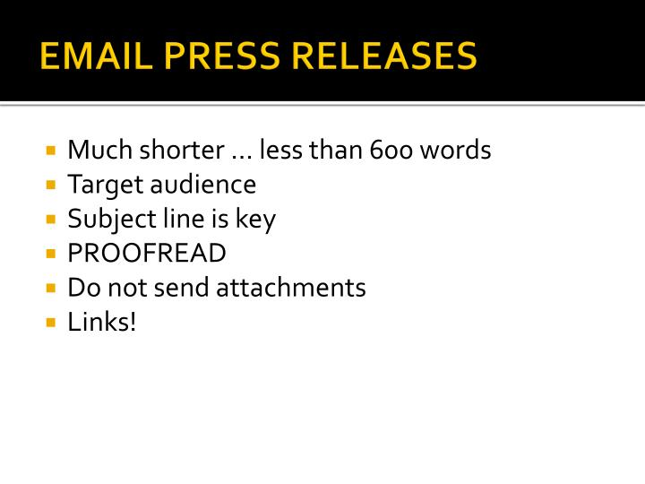 EMAIL PRESS RELEASES