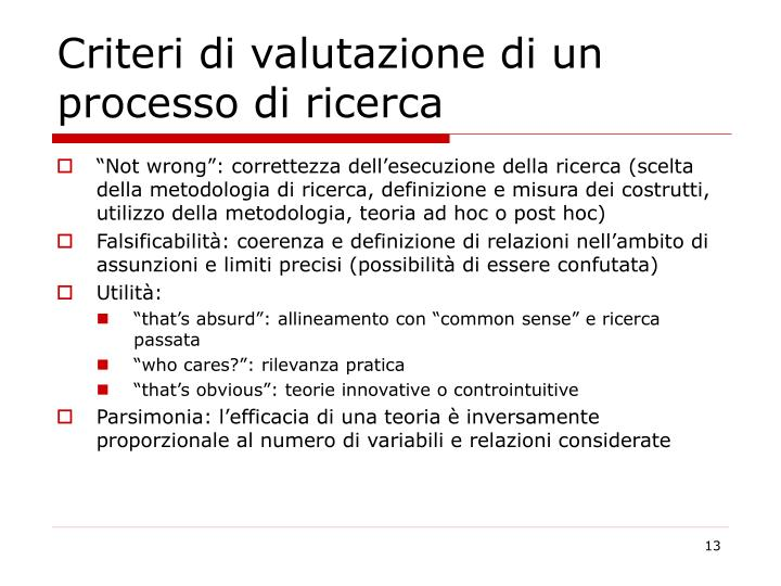 Criteri di valutazione di un processo di ricerca