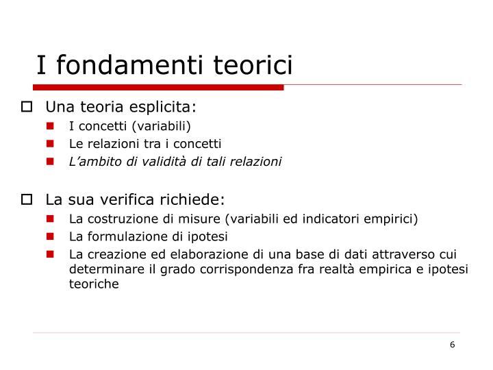 I fondamenti teorici