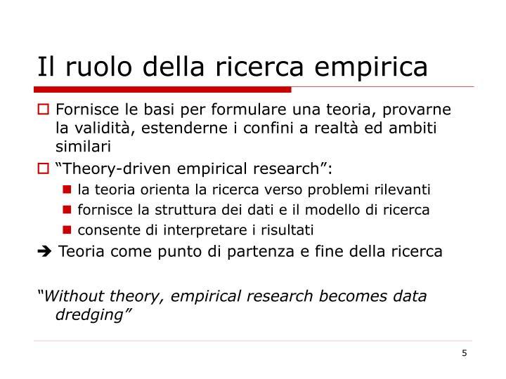 Il ruolo della ricerca empirica