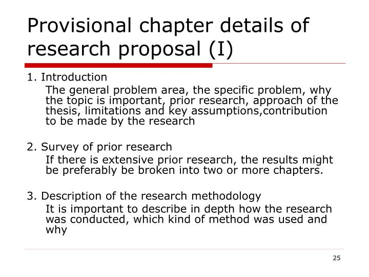 Provisional chapter details of research proposal (I)