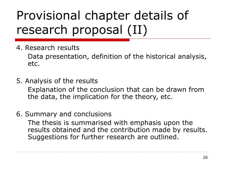 Provisional chapter details of research proposal (II)