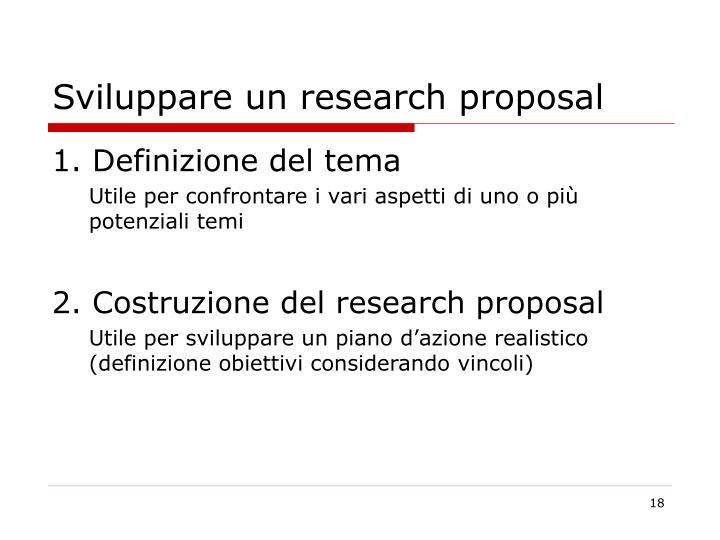 Sviluppare un research proposal