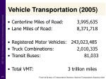 vehicle transportation 2005