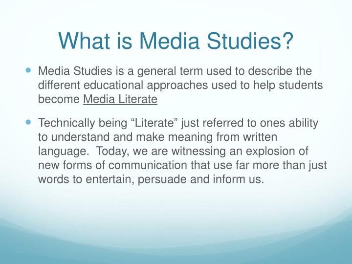 What is media studies