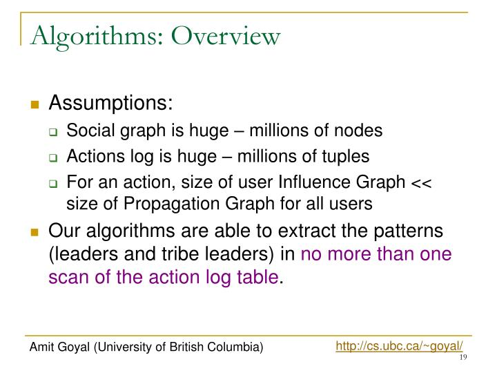 Algorithms: Overview