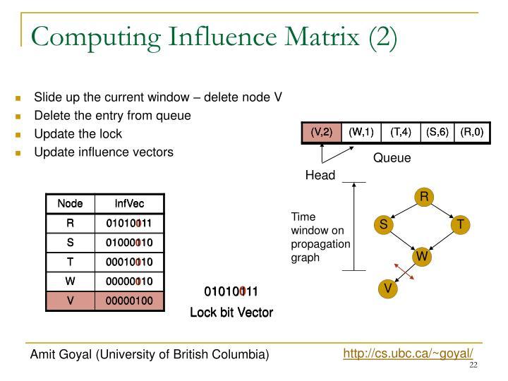 Computing Influence Matrix (2)
