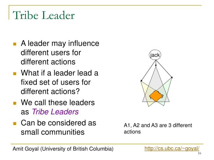 A leader may influence different users for different actions