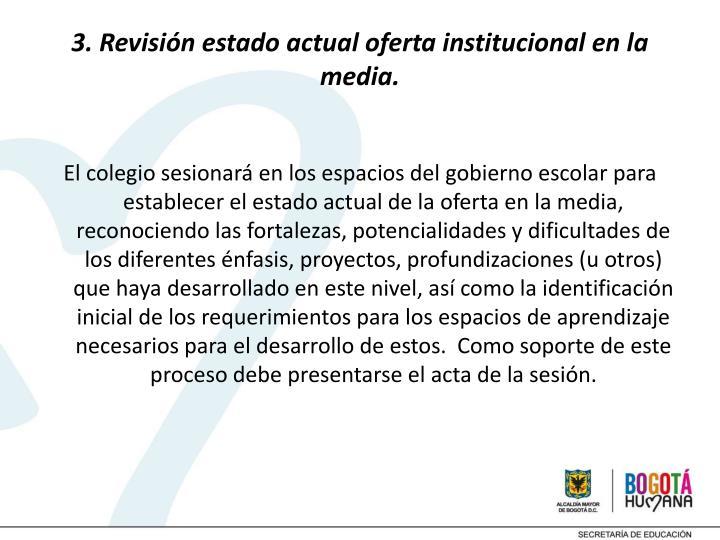 3. Revisión estado actual oferta institucional en la media.
