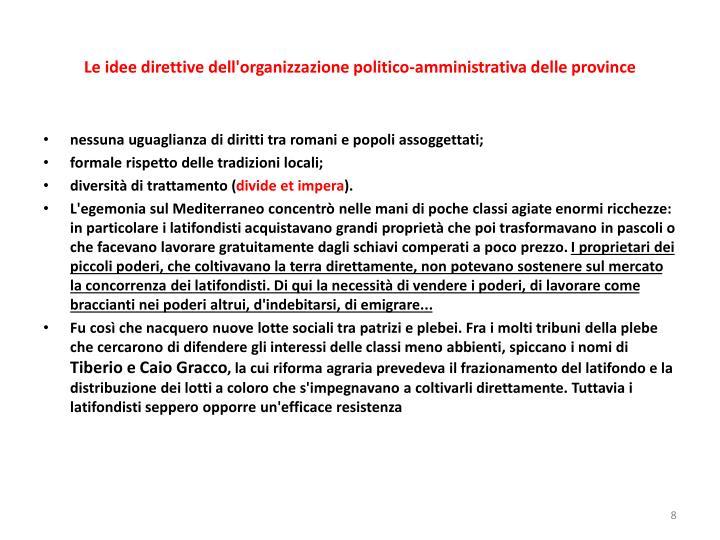 Le idee direttive dell'organizzazione politico-amministrativa delle province