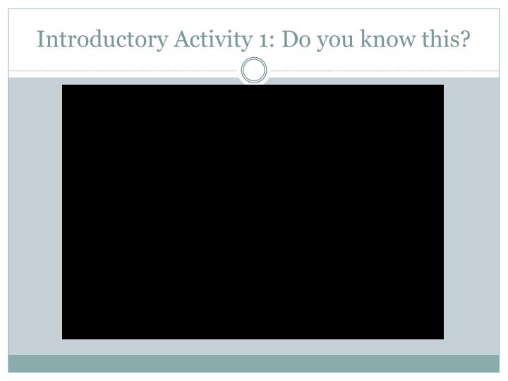 Introductory activity 1 do you know this