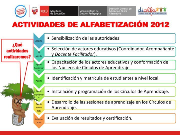 ACTIVIDADES DE ALFABETIZACIÓN 2012