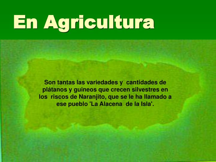 En Agricultura