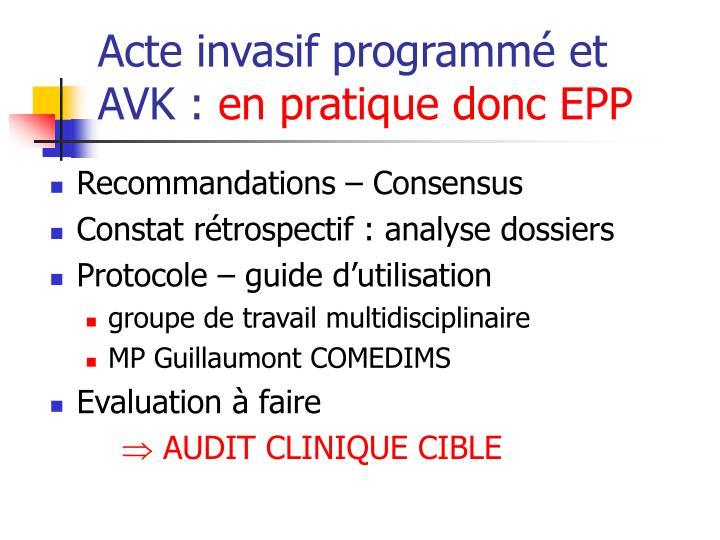 Acte invasif programmé et AVK :