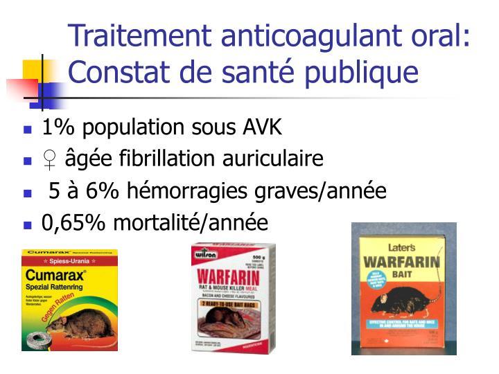 Traitement anticoagulant oral: