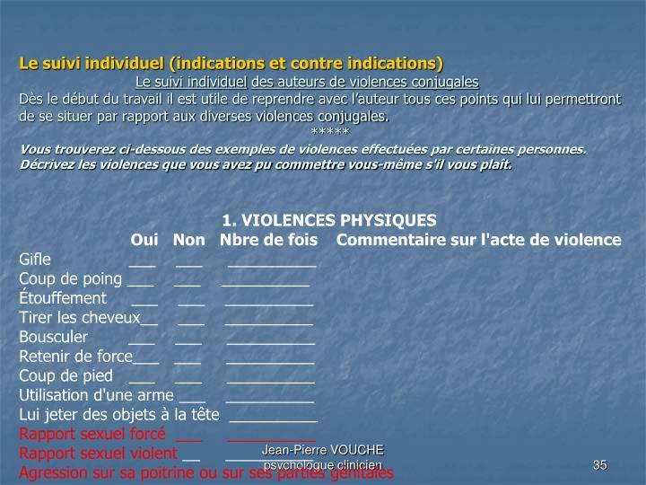 Le suivi individuel (indications et contre indications)